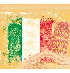 grunge background symbols of italy - gondola and vector image