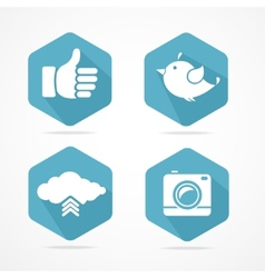 Social icons set flat design vector