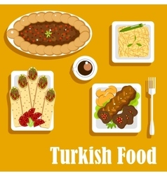 Turkish cuisine with kebab and shawarma vector