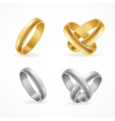 Wedding gold and silver ring set vector