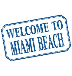 Miami beach - welcome blue vintage isolated label vector