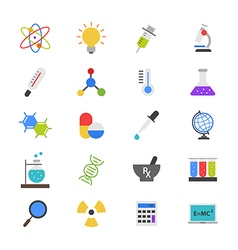 Science and medical flat color icons vector