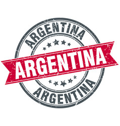 Argentina red round grunge vintage ribbon stamp vector