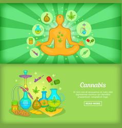 Cannabis banner set template cartoon style vector