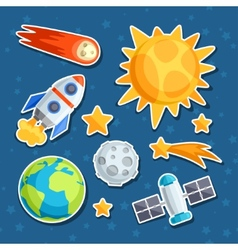 Cosmic icon set of solar system planets and vector