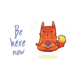 Cute baby fox in lotus meditation yoga poses vector