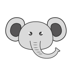 Cute elephant animal kawaii style vector