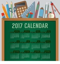 Education concept 2017 printable calendar vector