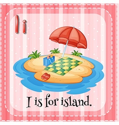 Flashcard letter i is for island vector