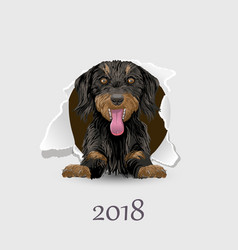 Flyer with the numbers and a happy dog symbol 2018 vector