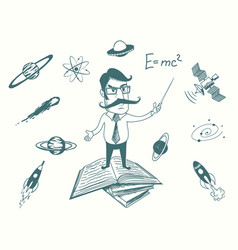 Funny scientist stands on books vector
