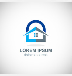 house secure lock logo vector image
