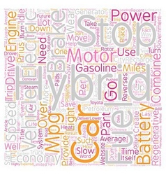 Hybrid car technology text background wordcloud vector