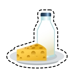 Isolated milk bottle and cheese design vector