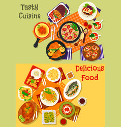 italian spanish and japanese cuisine dishes icon vector image
