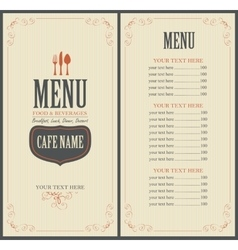 Menu for the restaurant vector