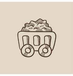 Mining coal cart sketch icon vector