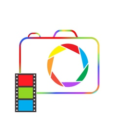 Multicolored camera with film on a white vector image vector image