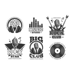 retro audio record studio sound labels vector image vector image