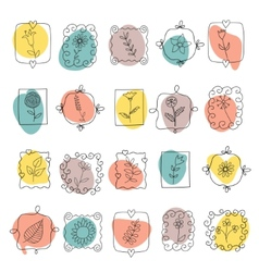 Set of spring doodle flowers and plants vector image vector image