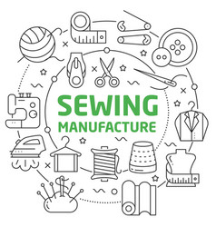 sewing manufacture linear vector image
