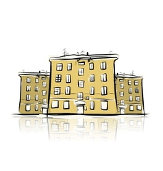 Sketch of street with old buildings for your vector image vector image