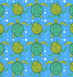 Sketch sea turtle pattern vector