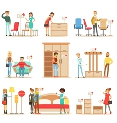Smiling shoppers in furniture shop shopping for vector