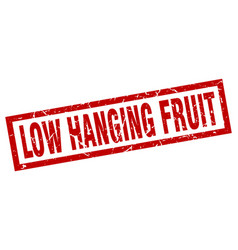 Square grunge red low hanging fruit stamp vector