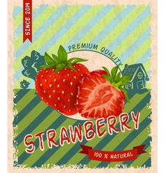 Strawberry retro poster vector