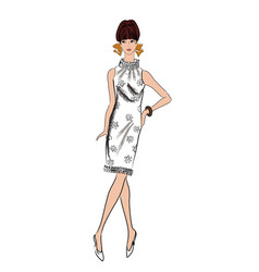 stylish woman fashion dressed girl 1960s style vector image vector image