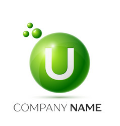 U letter splash green dots and bubbles number vector