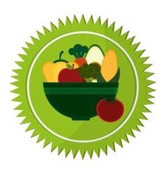 Vegetables bowl vegan healthy food label vector