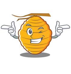 Wink bee hive character cartoon vector