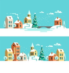 Winter town christmas card vector