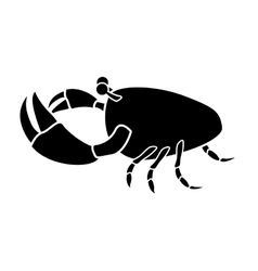 Silhouette monochrome with closeup crab vector