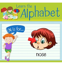 Flashcard letter N is for nose vector image