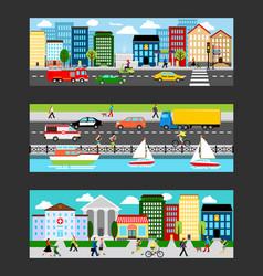 Modern cityscape set in industrial megapolis vector