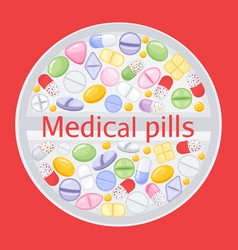 Tablet design of different colorful pillsmedicine vector