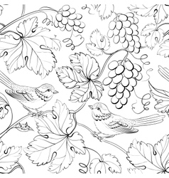 Bird and grape seamless pattern vector