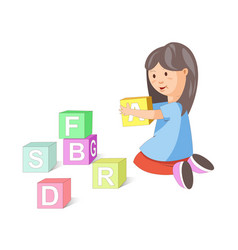 Little girl builds pyramid of cubes with letters vector