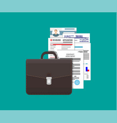 Leather business briefcase and pile documents vector