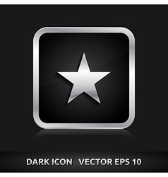 Star favorite icon silver metal vector