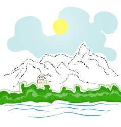 House by the river and mountains vector