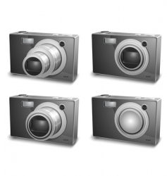 silver photo cameras vector image