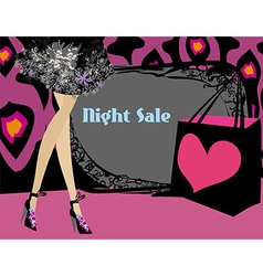 Night shopping card vector