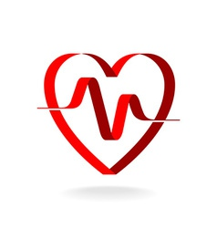 Heart with pulse ribbon logo template cardiology vector