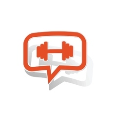 Barbell message sticker orange vector