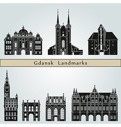 Gdansk landmarks and monuments vector