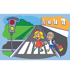 Schoolchild crossing at pedestrian crossing vector